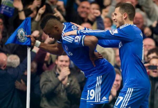 Considered to be one of the controversial celebrations - Sammy Eto'o, the Chelsea Pensioner.